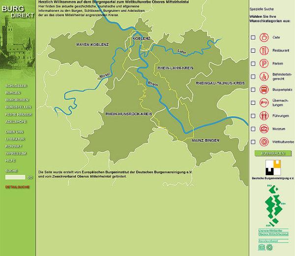 Mittelrheintal Karte.Burg Direkt